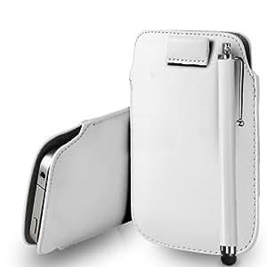 Samsung Galaxy i8160 Ace 2 cuero blanco Tire Tab caso de la cubierta Pouch + Touch Pen Stylus + paño de pulido