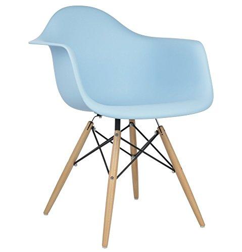 [Design Tree Home Charles Eames Style DAW Arm Chair, Blue ABS Plastic] (Austin Modern Chair)