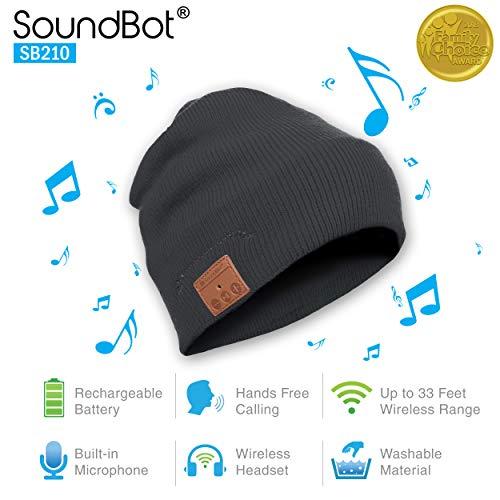 (soundbot SB210-GRY/GRY HD Stereo Bluetooth 4.1 Wireless Smart Beanie Headset Musical Knit Headphone Speaker Hat Speakerphone Cap,Built-in Mic (Gry))