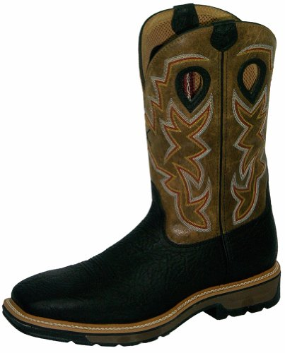 H Boot Western Boot Double - Twisted X Mens Black Leather Steel Toe Lite Weight Cowboy Work Boots 12D