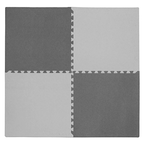 Set Playmat Safe - Tadpoles 4 Piece Squares Playmat Set, Light Gray/Dark Gray, 24