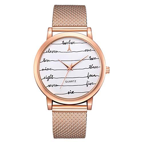 Mesh Ladies Stretch Watch - lightclub Women Fashion Mesh Band Letter Line Round Dial Watch Analog Quartz Wristwatch - Rose Gold