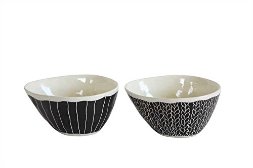 Black & White Hand-Painted Stoneware Bowls - 3 Sets of 2 by Heart of America