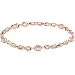 Oval-Shape Gemstone with White Diamond Bracelet 7.25""