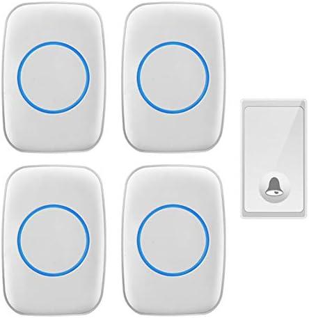 ワイヤレスドアベル、1ボタン+4メインユニット、ワイヤレスドアベルおよびベルワイヤレスキットオーバー1000フィートレンジ、4ボリュームレベル、