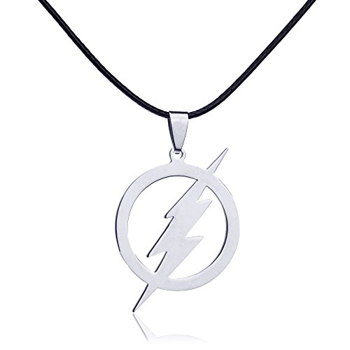 Dastan Necklace Stainless Steel Round Flash Lightning Charm Pendant on Beaded Chain