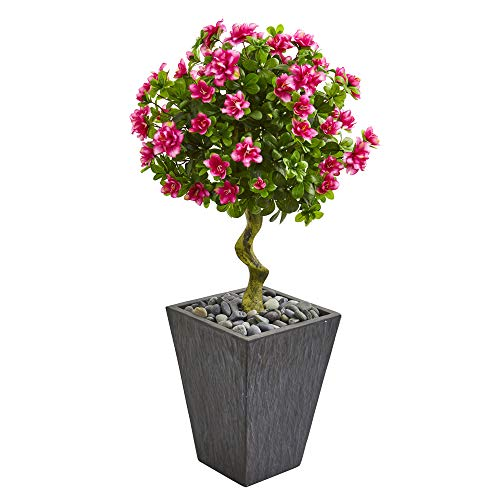 Nearly Natural 9294 3.5-Ft. Azalea Artificial Topiary Slate Finished Planter Silk Trees Pink