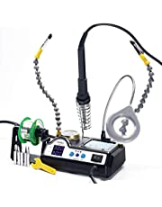 YIHUA 927-IV 60W Dual LED Digital Display Adjustable and Accurate Temperature Soldering Iron Station with Third Hand Flexible Arms with Stainless Steel Alligator Clamps and Magnifier Lamp 90~480℃
