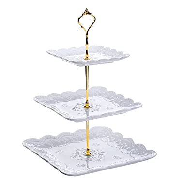 Dowan 3-Tier Square Porcelain Cake Stand/Tea Party Serving Platter,White