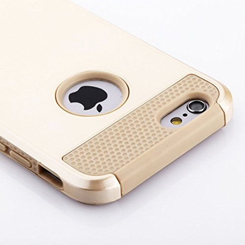 CELKASE(TM) , iPhone 6S Case,Non-Slip Perfect-Fit iPhone 6 6S (4.7) Case Hard Plastic Silicone Protective Case Rubber Bumper Slim Heavy Duty Dual Layer Gold Cover for iPhone 6 (2014) and iPhone 6S (2015)