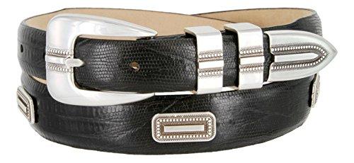 Silver Vincente Genuine Italian Calfskin Leather Conchos Dress Belt (Lizard Black, 36)