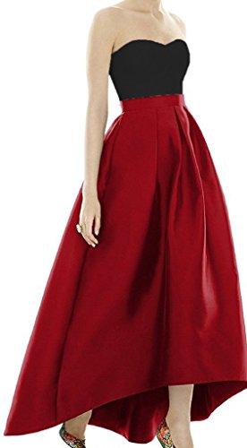 Sweetheart Satin Red Dresses High Long Gowns Diandiai Low Prom Ball Evening Women's Dresses qw5PgS7Ix