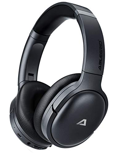 ABLEGRID QuietOdio 10 Hybrid Active Noise Cancelling Headphones, Over Ear Wireless Bluetooth Headphones with Microphone for TV, Work, Phone-Call, aptX Audio, 35H Playtime (Black-1)