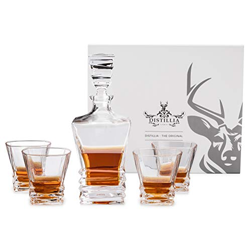 Arctic Whiskey Decanter Set with Four Scotch-Glasses - Unique Twisted Hand-Crafted Design Crystal Whisky Glasses in a Beautifully Elegant Gift Box - Lead-Free Old-Fashioned-Style Tumblers
