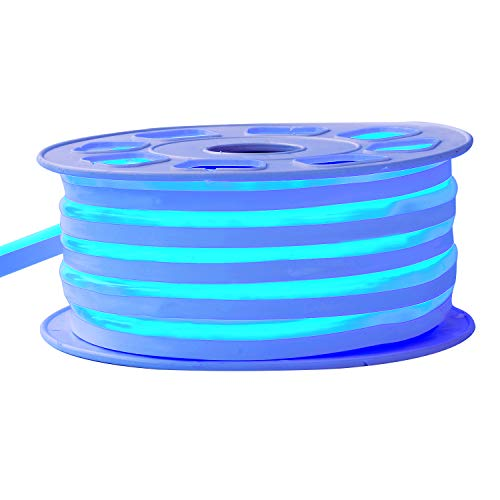 Led Neon Tubes (Led Neon Lights, Shine Decor dimmable Blue Rope Lights, Update Waterproof 2835 120Leds/M, 50ft, 110V, Included All Necessary Accessories, Flex Durable Super Bright For Outdoor Decor Or Commercial Use)