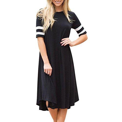 JSPOYOU Plus Size! Womens Casual Short Sleeve Cuff Stripe Dress O-Neck Short Sleeve Women Dress (CN-XL/US-10, Black)