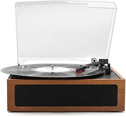 LP&No.1 ヴィンテージ ビニール レコード プレーヤー ステレオ スピーカー付き、 3 スピード ターンテーブル ライトブラウン 02