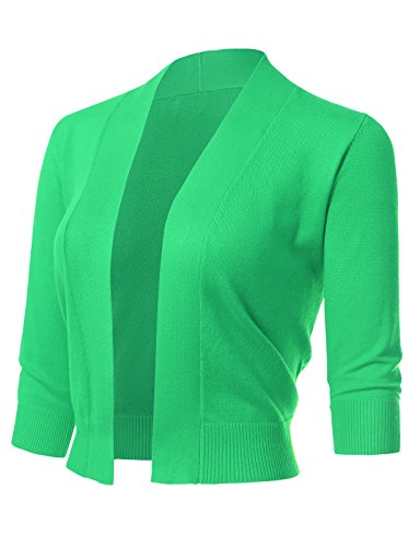 ARC Studio Women's Classic 3/4 Sleeve Open Front Cropped Cardigans (S-XL) L Green