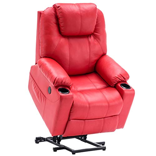 Mcombo Electric Power Lift Recliner Chair Sofa with Massage and Heat for Elderly, 3 Positions, 2 Side Pockets and Cup Holders, USB Ports, Faux Leather 7040 (Red)