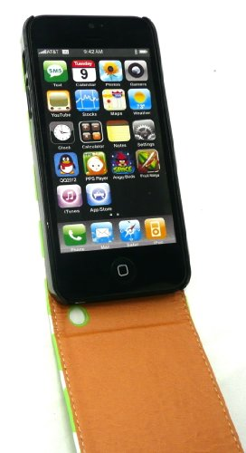 Emartbuy® Eingabestift Pack Für Apple Iphone 5 5s Premium Pu Leder Flip Case / Cover / Tasche Polka Dots Grün / Weiß + Mini Metallic Grün Eingabestift + Lcd Displayschutzfolie
