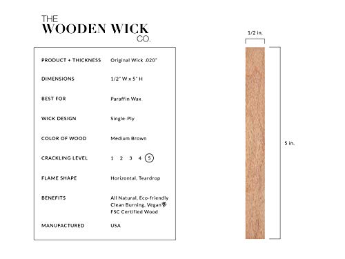 "The Wooden Wick Co. ""Original Wick"" for 100% Paraffin Candles with Jar Diameter 3 to 3.5 in, 5"" Candle Wicks, Authentic Wood Wick Candle Making Supplies with Metal Stand by Wooden Wick Co. (Image #1)"
