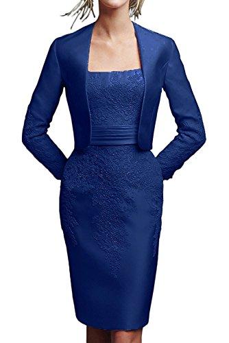 Etuikleider Brautmutterkleider Satin Damen Knielang Marie Schwarz Braut Abendkleider La Blau Royal Spitze Knielang WXwa8xHvqH
