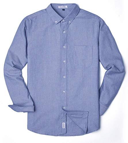 - MUSE FATH Men's Oxford Dress Shirt-Cotton Casual Long Sleeve Shirt-Button Down Point Collar Shirt-Light Blue with Pocket-L