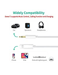 (Apple MFI Certified) Aux Cord for iPhone Xs XR X 8 7 Plus, Lightning to 3.5 mm Headphone Jack Adapter Aux Cable for Car Support iOS 11 12(White)