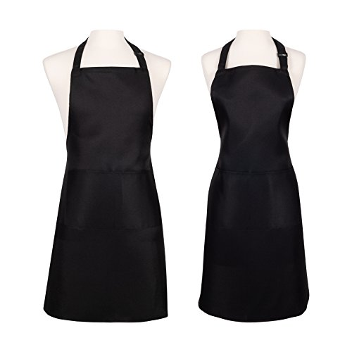 KAF Home 2 Pack Unisex Adjustable Water Resistant Apron - One Size Fits All Kitchen Chef Apron With 2 Large Oversized Pockets - Perfect for Crafting, Cooking, Baking, Painting, Gardening - Black ()