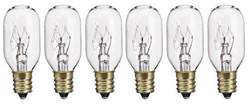 Pack of 6 15T7 15W Incandescent Salt Lamp & Appliance T7 Bulb with Candelabra Base, Clear Light Bulb ()