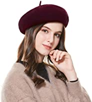 Kajeer Women's French Wool Blend Beret Hat in Solid Color Floppy Artist Painter Hats for Spring Autumn Wi