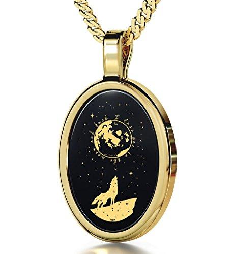 Collier Romantique - Pendentif avec I Love You to The Moon and Back inscrit en Or 24ct sur Pierre Onyx Noire, 45cm - Bijoux Nano
