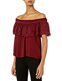 Taylor and Sage Women's Crochet Trim Ruffle Off The Shoulder Top
