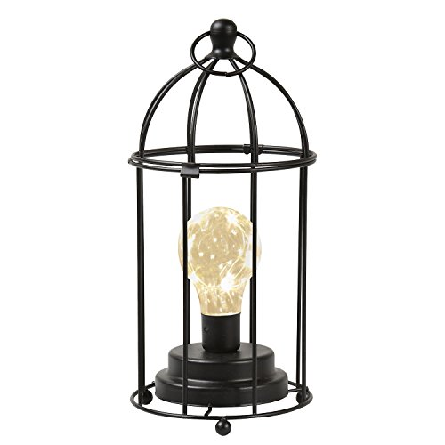 End Cage (Circleware Birdcage Desk, Table, or Hanging Lamp - Metal Lantern, Cordless Accent Light with LED Bulb - 11