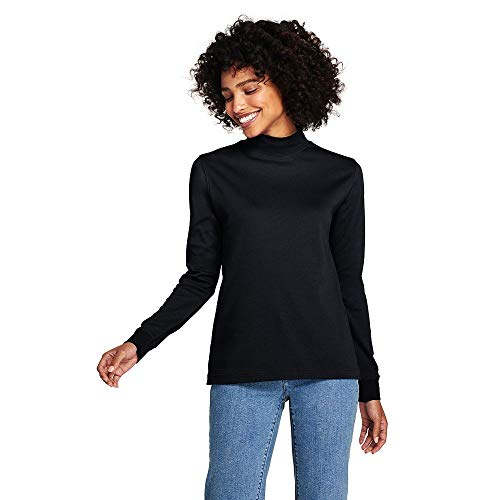 Ladies Turtleneck Interlock Mock (Lands' End Women's Petite Relaxed Cotton Mock Turtleneck, L, Black)