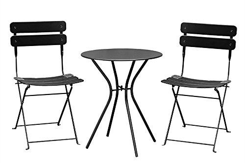 Living Express Outdoor 3 Piece Bistro Set of Table And 2 Chairs,Dining Set,Black (Cheap Bistro Set)