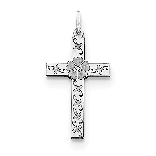 Sterling Silver Laser Designed Cross Pendant QXR189