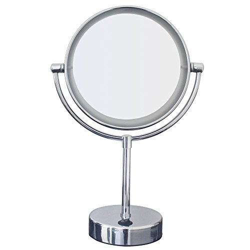 Cheap Gloriastar LED Lighted Makeup Mirror, 1x/5x magnification, 7-Inch,Polished Chrome Finish