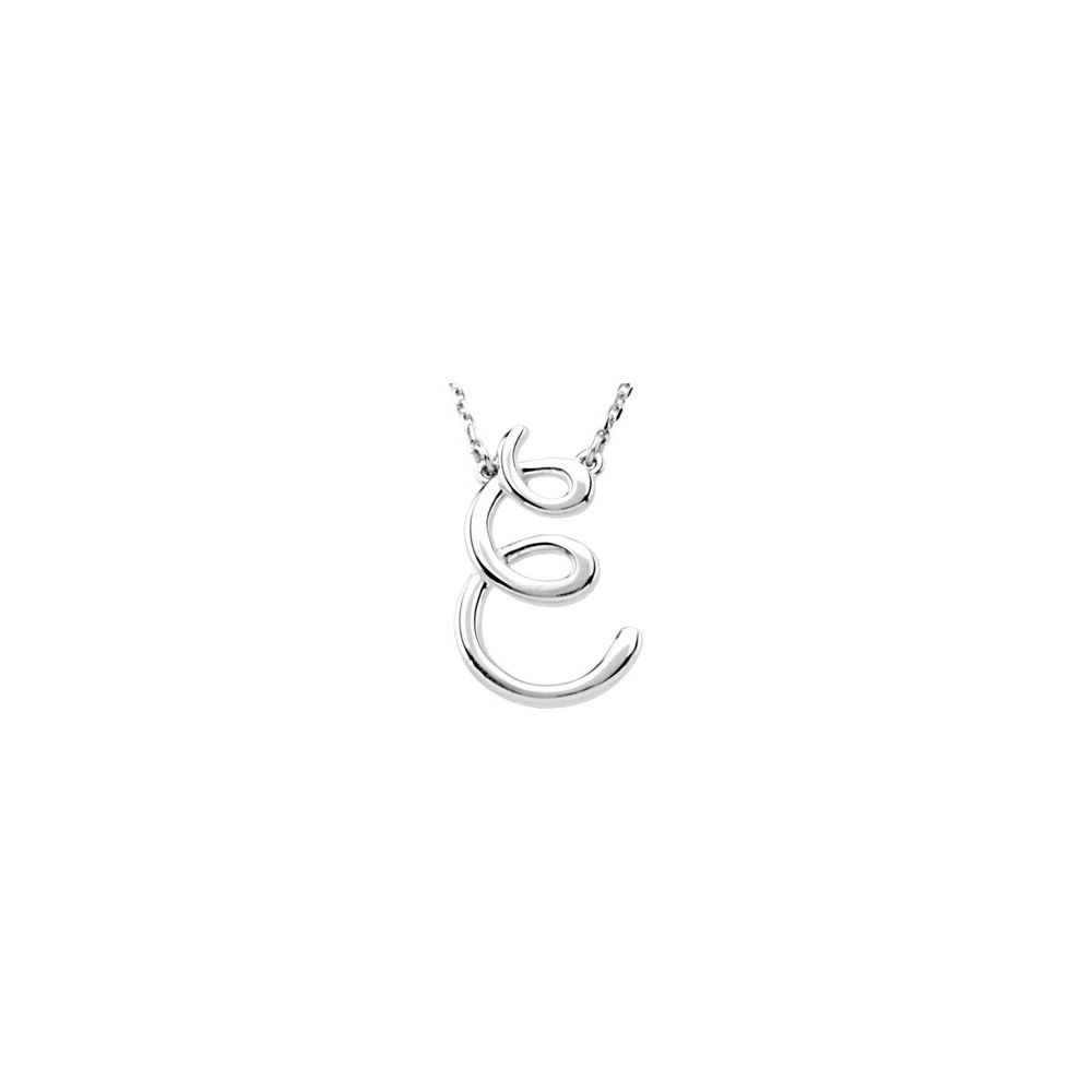 JewelryWeb 925 Sterling Silver Fashion Script Initial Necklace 16 Inch in Silver Choice of Initials and a B C E F G H J M N O
