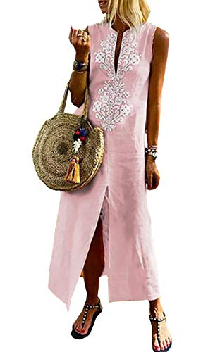 Asskdan Women's Floral Printed Cotton Linen Long Sleeve Solid Loose V Neckline Boho Long Dress Kaftan Casual Dress (Large, Sleeveless-Pink) ()