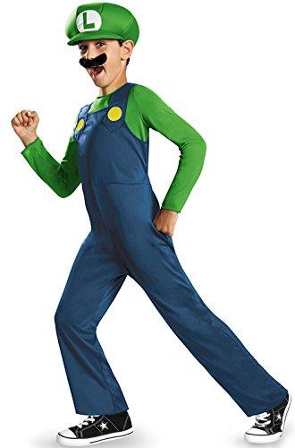 Nintendo Super Mario Brothers Luigi Classic Boys Costume, -
