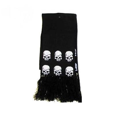 Écharpe d'hiver mixte-tête de mort style gothique écharpe noir