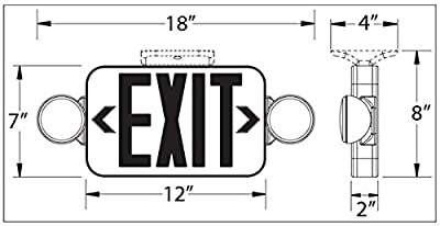 Black LED Exit Sign Emergency Light Combo with Red Letters