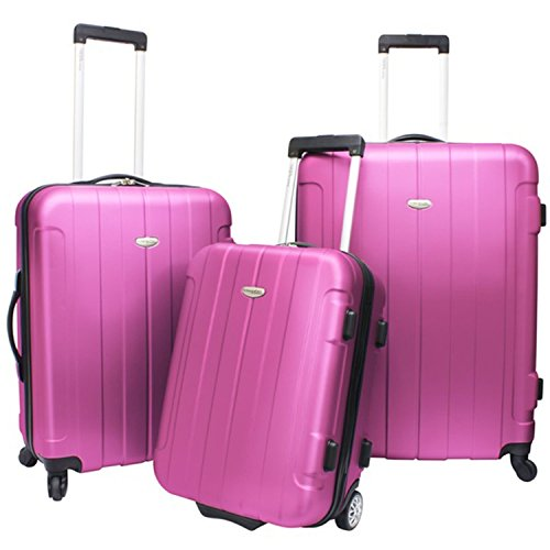 3pc Hardside Pink lightweight Wheeled Duffle Bag, Locking, Telescoping Handle, Spinner, Rolling Upright Luggage Set, MultiCompartment, Full Interior Lining Zipper Pockets, ABS Polycarbonate by OTSK