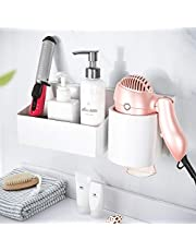 YOHOM Hair Dryer Holder with Storage Basket Adhesive Bathroom Blow Dryer Rack Wall Organizer Shower Caddy Storage Accessories Set for Hair Care Styling Tool