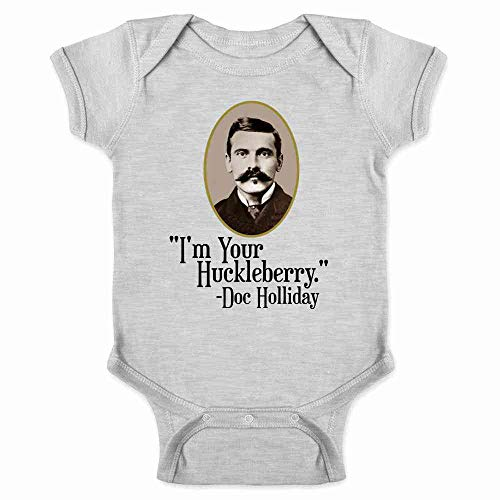 Pop Threads I'm Your Huckleberry Doc Holliday Western Quote Gray 12M Infant Bodysuit -