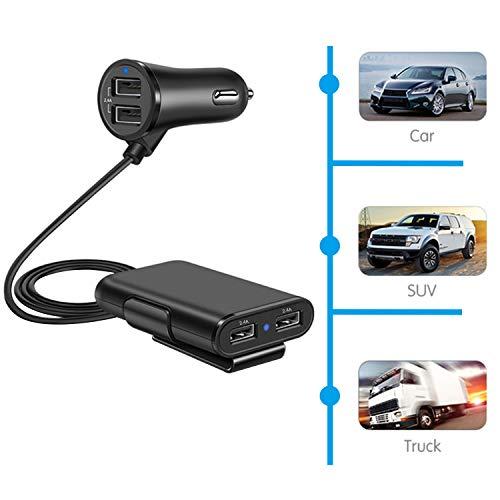 Amazon.com: OUOU 4 puertos USB cargador de coche divisor 4,8 ...