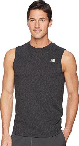 New Balance Men's Heather Tech Sleeveless Shirt, Black Heather, X-Large (Tech Shirt Sleeveless)