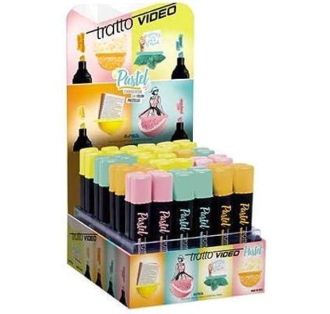 Tratto Video subrayadores Pastel (colores Pastel) Pack de 48 subrayadores (Rosa Amarillo Naranja y Azul): Amazon.es: Oficina y papelería