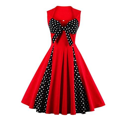 swing Verano Up 1950 Nueva visten las vestidos Plus puntos Poco Vestimenta Feminino Promoción Estilo Size Aubrey mujeres Polk Rojo Pin 4TqwO